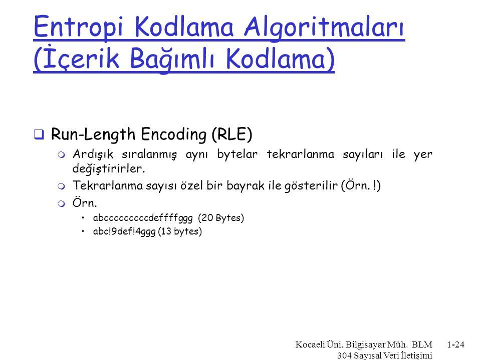 Entropi Kodlama Algoritmaları (İçerik Bağımlı Kodlama)