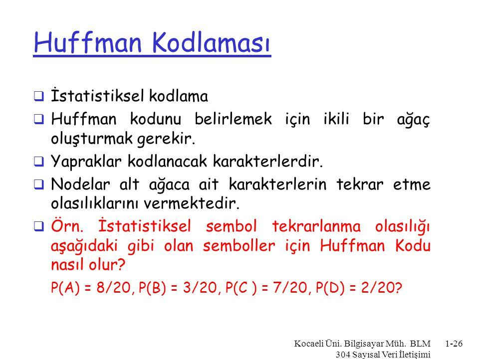 Huffman Kodlaması İstatistiksel kodlama