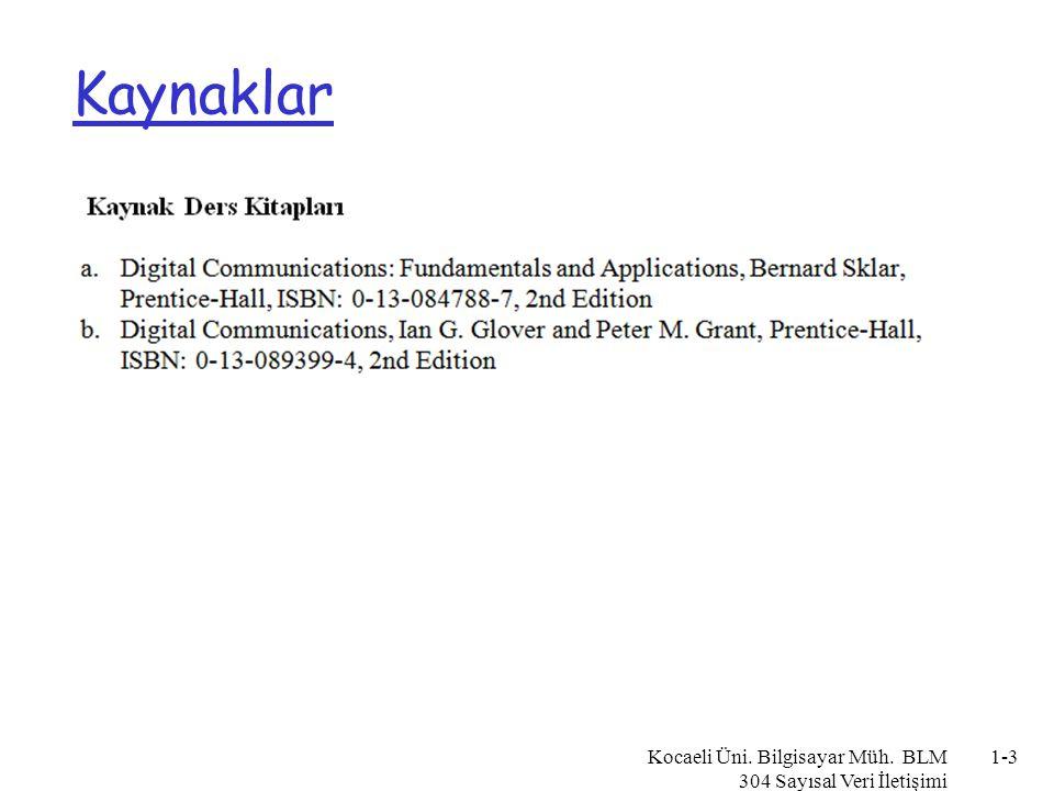 Kaynaklar Kocaeli Üni. Bilgisayar Müh. BLM 304 Sayısal Veri İletişimi