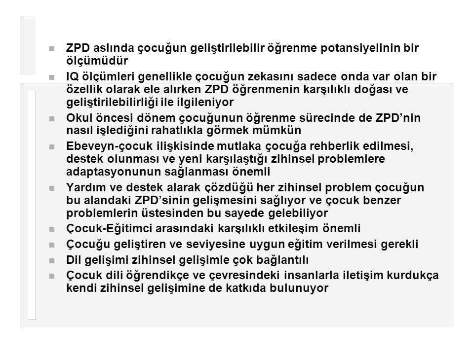 ZPD aslında çocuğun geliştirilebilir öğrenme potansiyelinin bir ölçümüdür