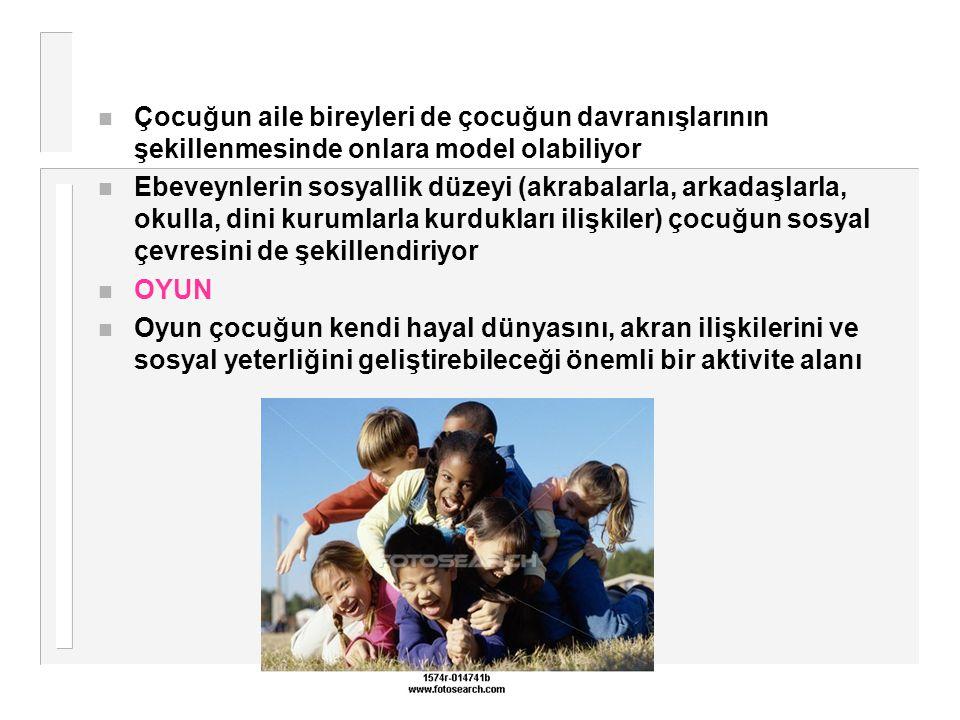 Çocuğun aile bireyleri de çocuğun davranışlarının şekillenmesinde onlara model olabiliyor