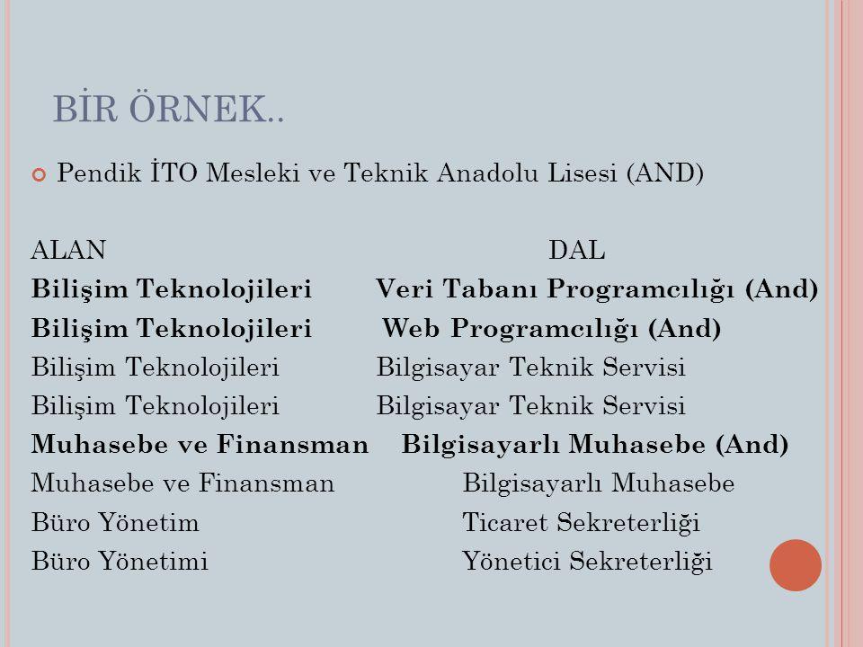 BİR ÖRNEK.. Pendik İTO Mesleki ve Teknik Anadolu Lisesi (AND) ALAN DAL