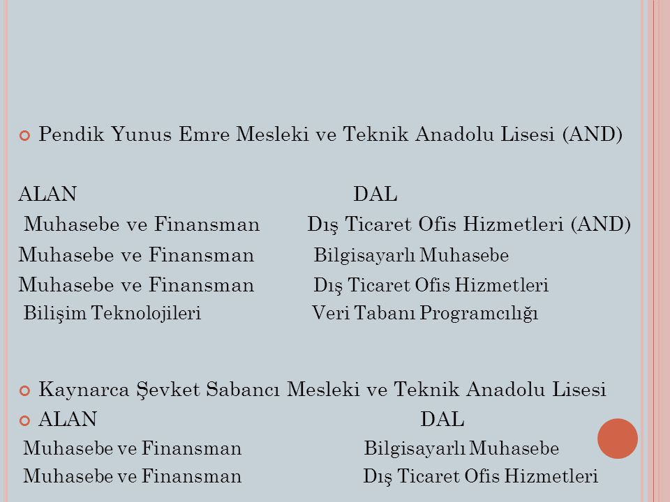 Pendik Yunus Emre Mesleki ve Teknik Anadolu Lisesi (AND) ALAN DAL
