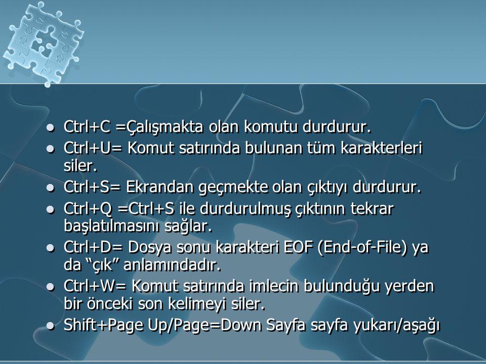 Ctrl+C =Çalışmakta olan komutu durdurur.