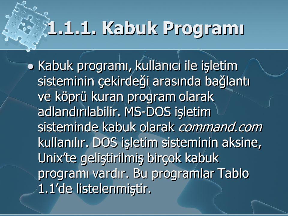 1.1.1. Kabuk Programı