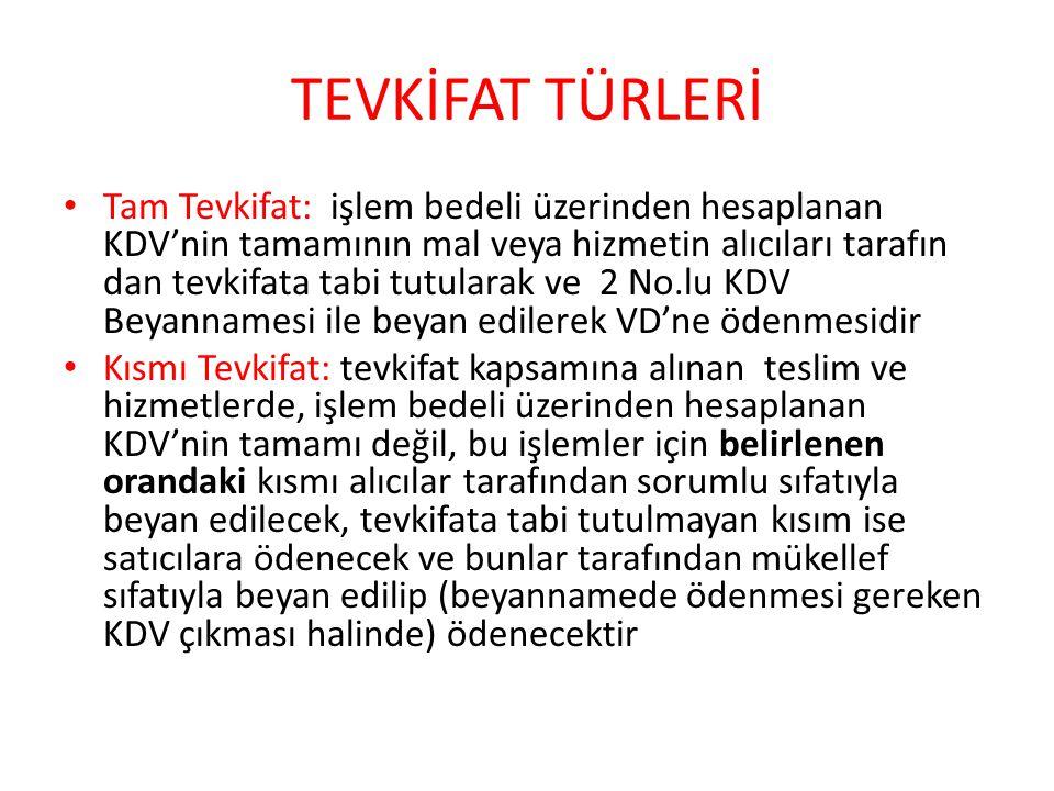 TEVKİFAT TÜRLERİ