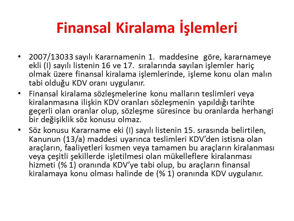 Finansal Kiralama İşlemleri