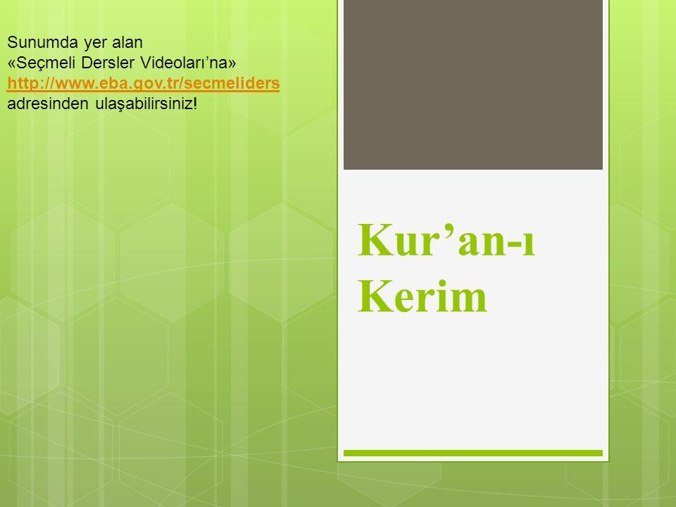 Kur'an-ı Kerim Sunumda yer alan