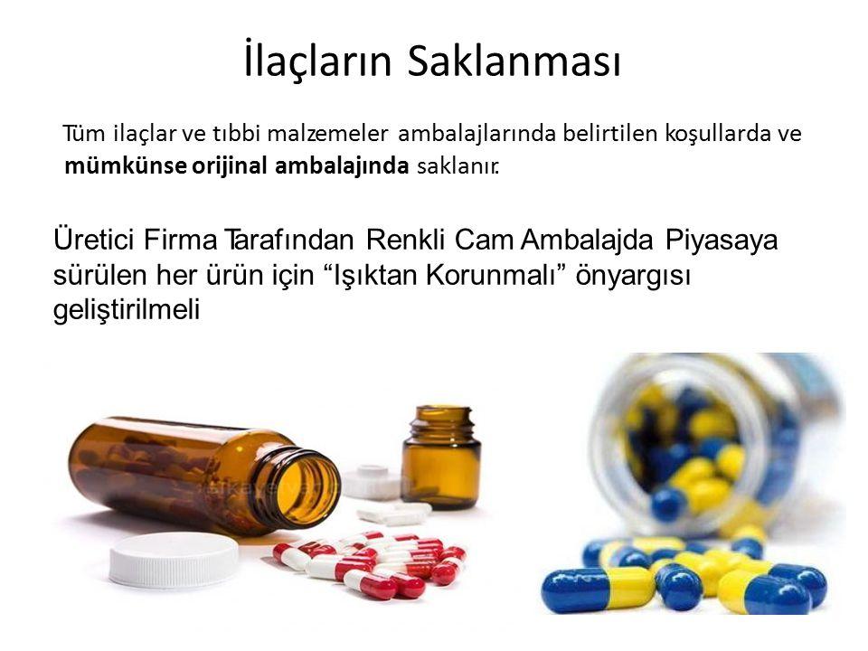 İlaçların Saklanması Tüm ilaçlar ve tıbbi malzemeler ambalajlarında belirtilen koşullarda ve. mümkünse orijinal ambalajında saklanır.