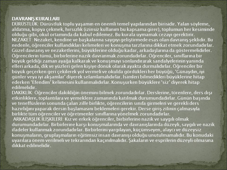 DAVRANIŞ KURALLARI