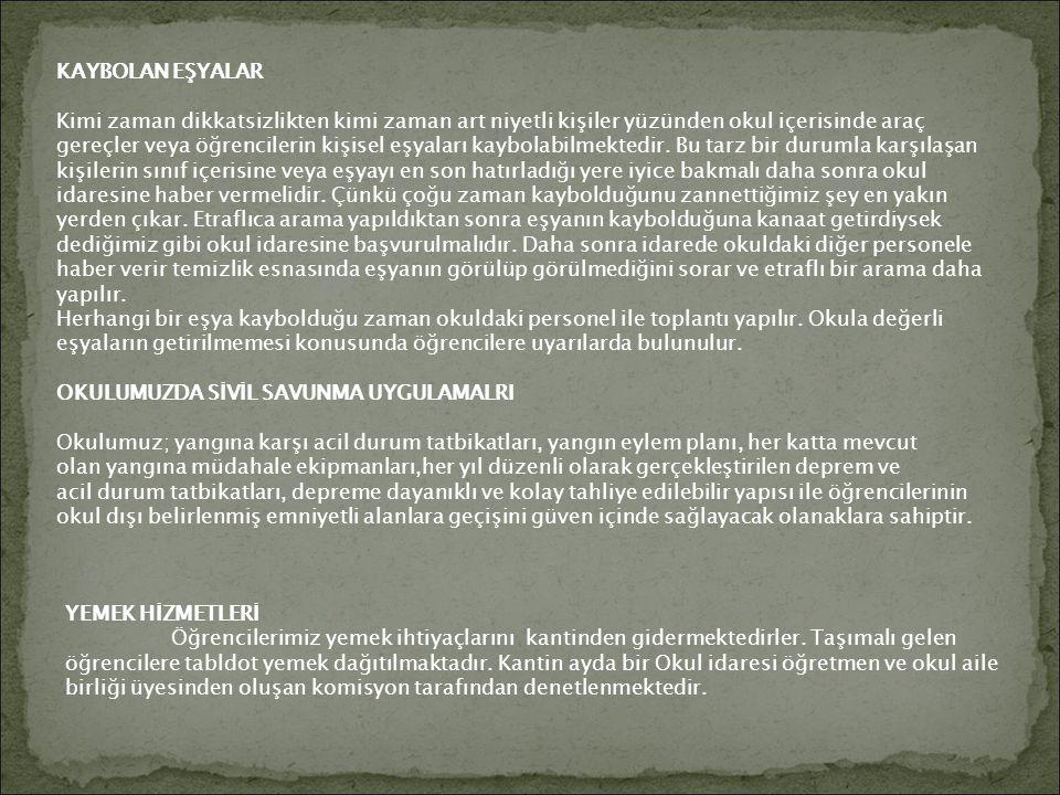 KAYBOLAN EŞYALAR