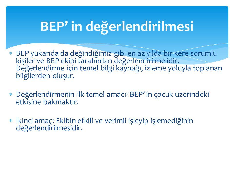 BEP' in değerlendirilmesi