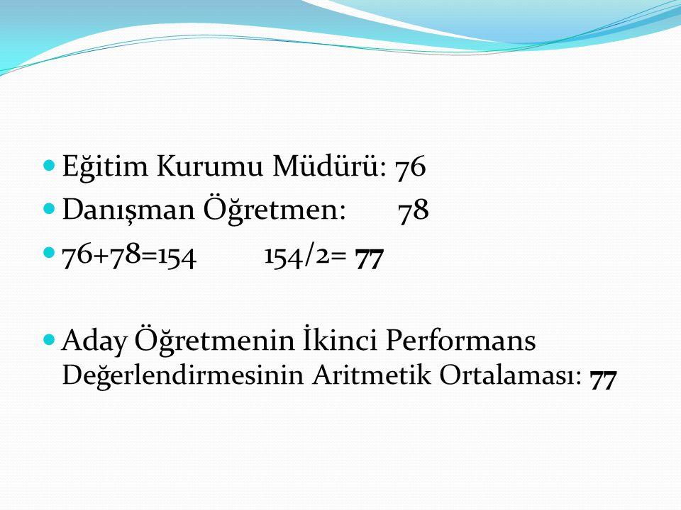 Eğitim Kurumu Müdürü: 76 Danışman Öğretmen: 78. 76+78=154 154/2= 77.