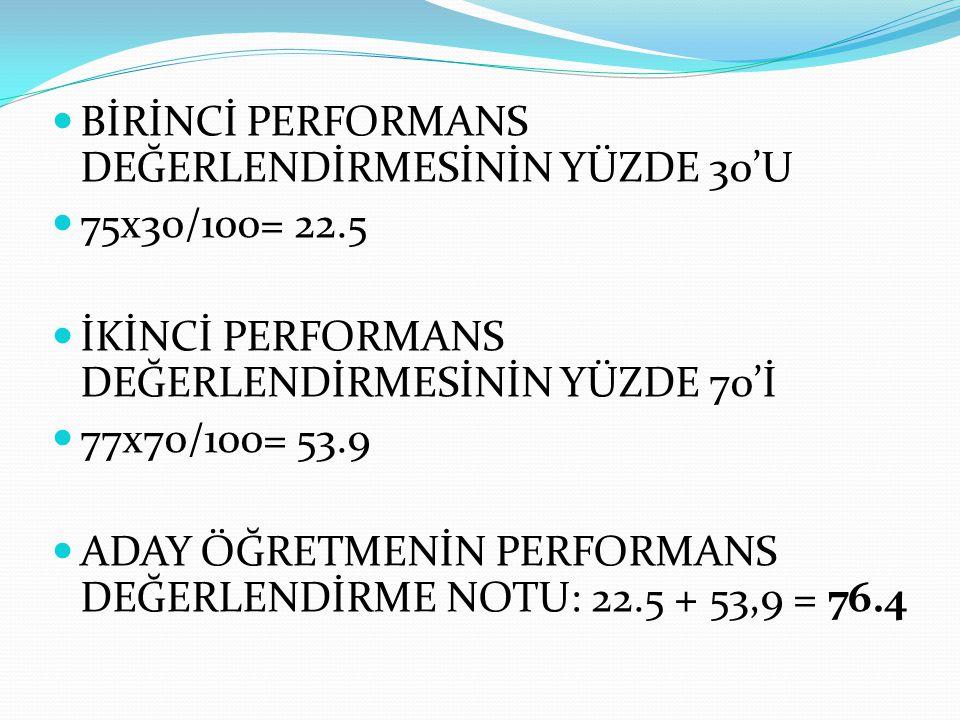 BİRİNCİ PERFORMANS DEĞERLENDİRMESİNİN YÜZDE 30'U