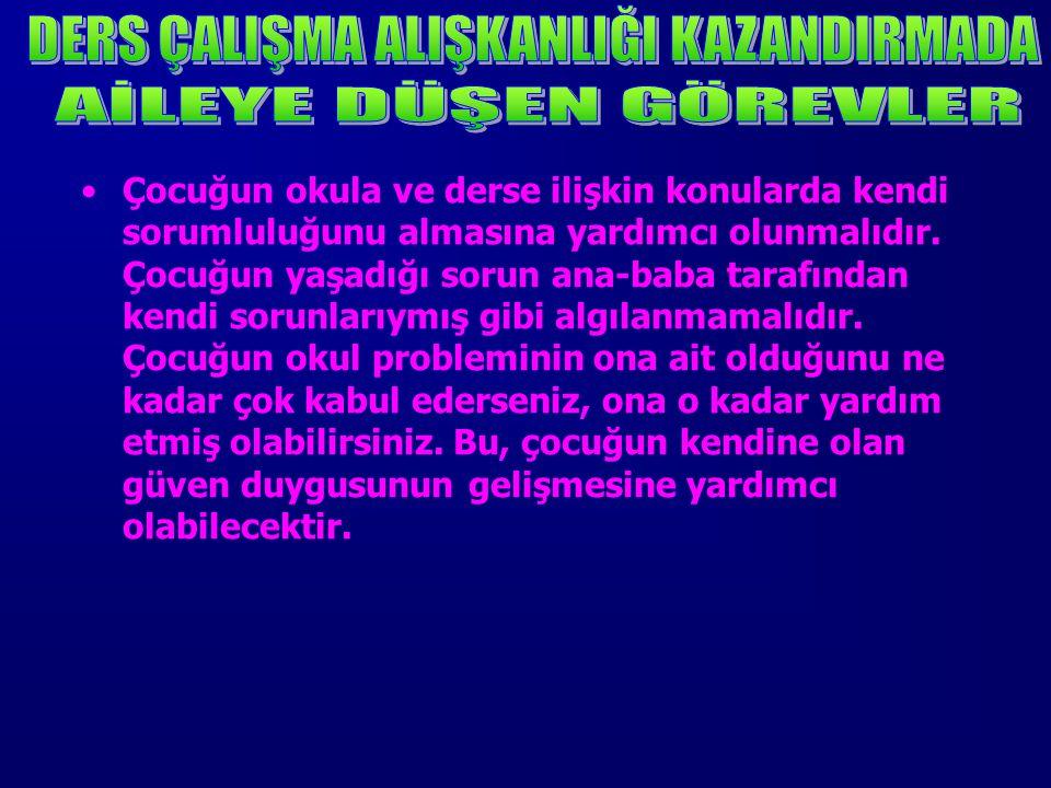 DERS ÇALIŞMA ALIŞKANLIĞI KAZANDIRMADA