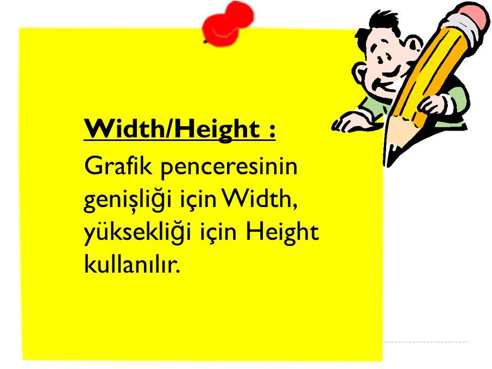Width/Height : Grafik penceresinin genişliği için Width, yüksekliği için Height kullanılır.