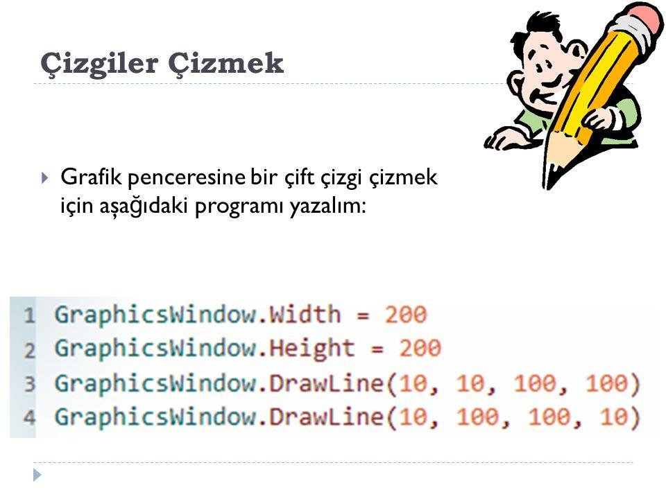 Çizgiler Çizmek Grafik penceresine bir çift çizgi çizmek için aşağıdaki programı yazalım: