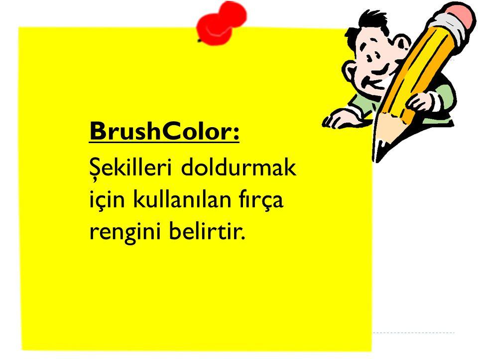 BrushColor: Şekilleri doldurmak için kullanılan fırça rengini belirtir.