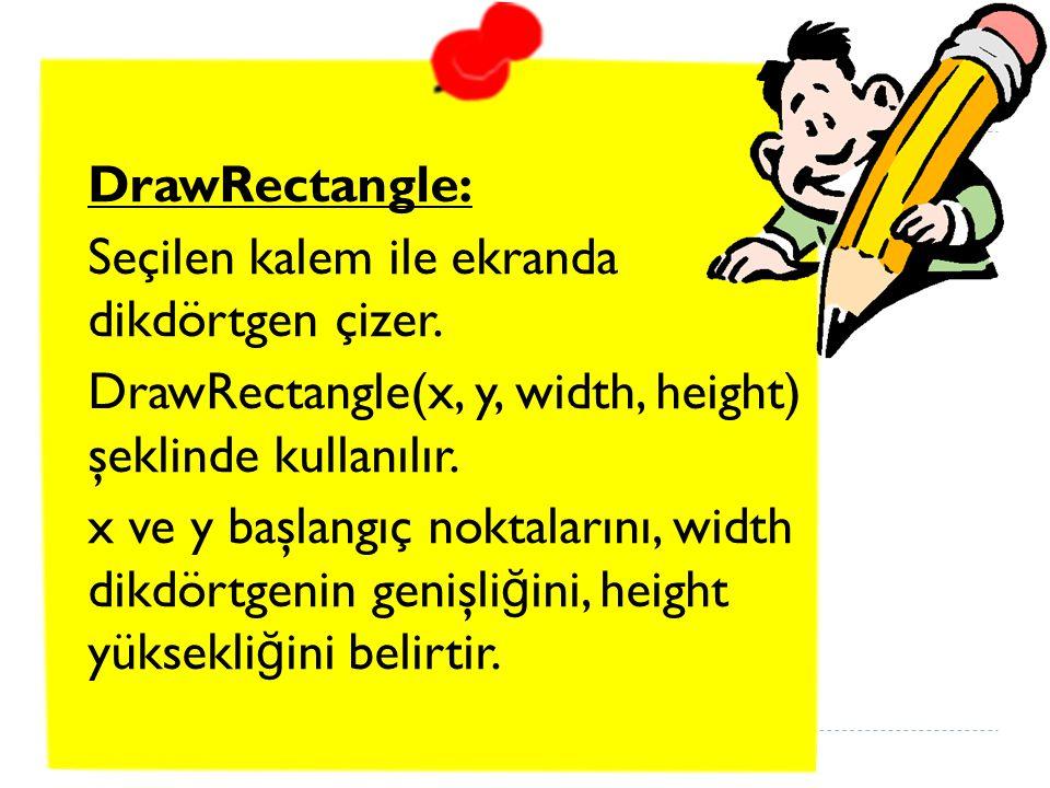 DrawRectangle: Seçilen kalem ile ekranda dikdörtgen çizer