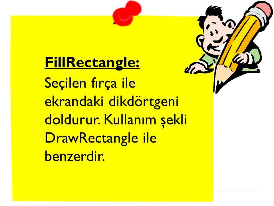 FillRectangle: Seçilen fırça ile ekrandaki dikdörtgeni doldurur