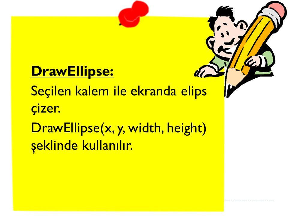 DrawEllipse: Seçilen kalem ile ekranda elips çizer