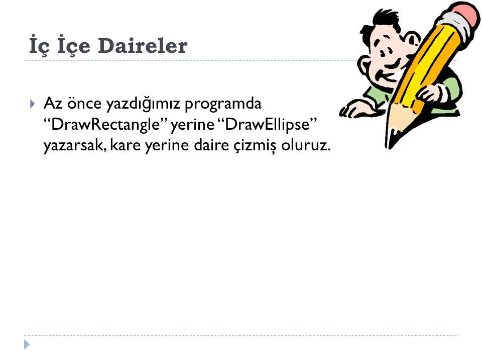 İç İçe Daireler Az önce yazdığımız programda DrawRectangle yerine DrawEllipse yazarsak, kare yerine daire çizmiş oluruz.