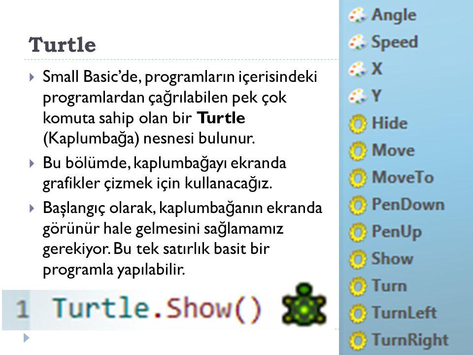 Turtle Small Basic'de, programların içerisindeki programlardan çağrılabilen pek çok komuta sahip olan bir Turtle (Kaplumbağa) nesnesi bulunur.
