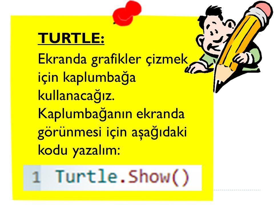 TURTLE: Ekranda grafikler çizmek için kaplumbağa kullanacağız. Kaplumbağanın ekranda görünmesi için aşağıdaki kodu yazalım:
