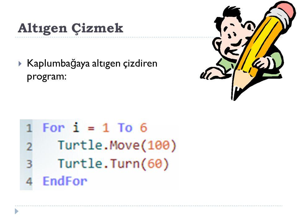 Altıgen Çizmek Kaplumbağaya altıgen çizdiren program: