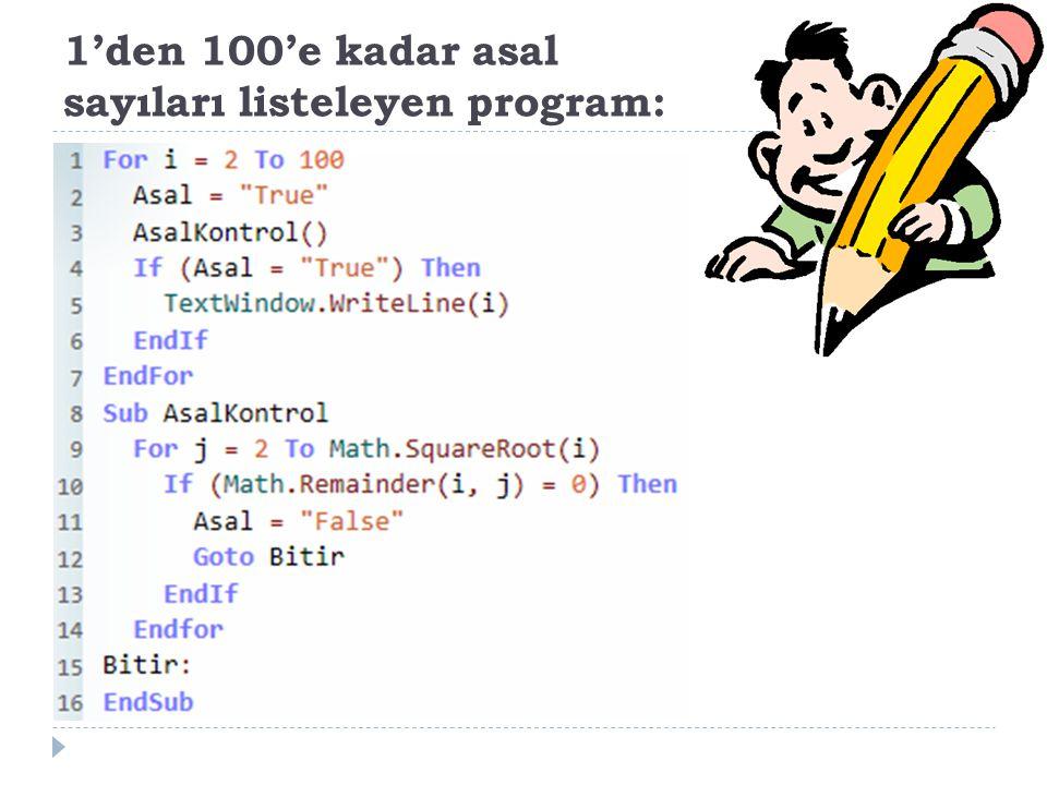 1'den 100'e kadar asal sayıları listeleyen program: