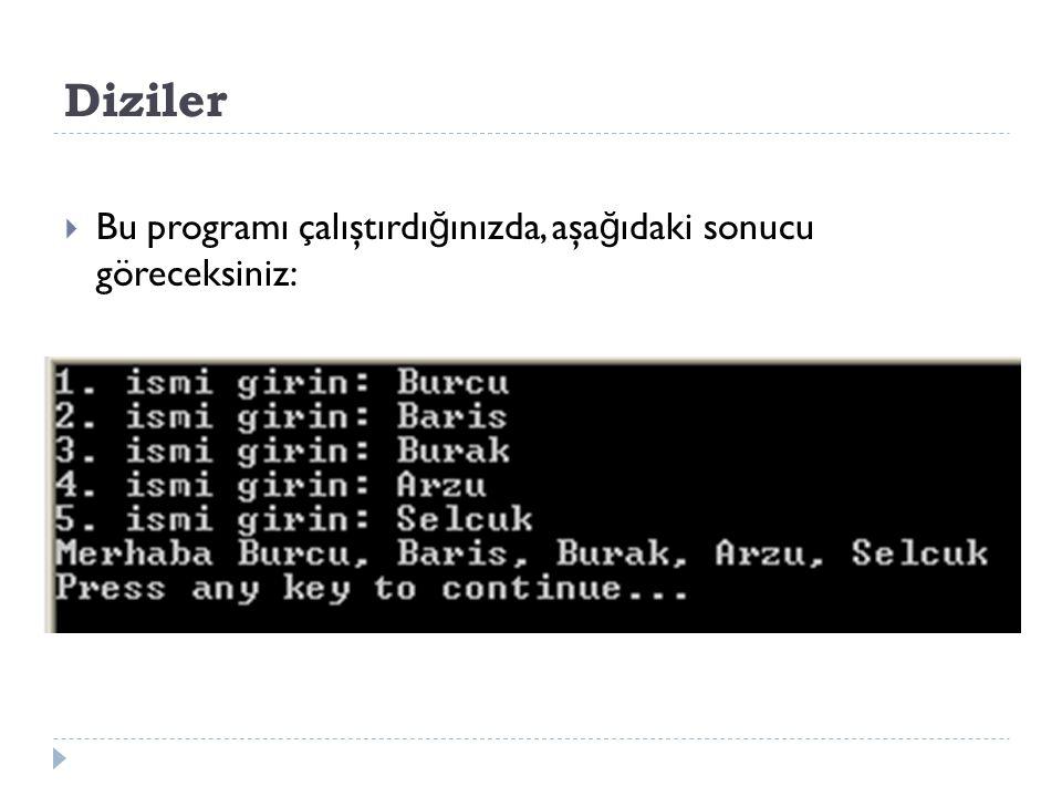 Diziler Bu programı çalıştırdığınızda, aşağıdaki sonucu göreceksiniz: