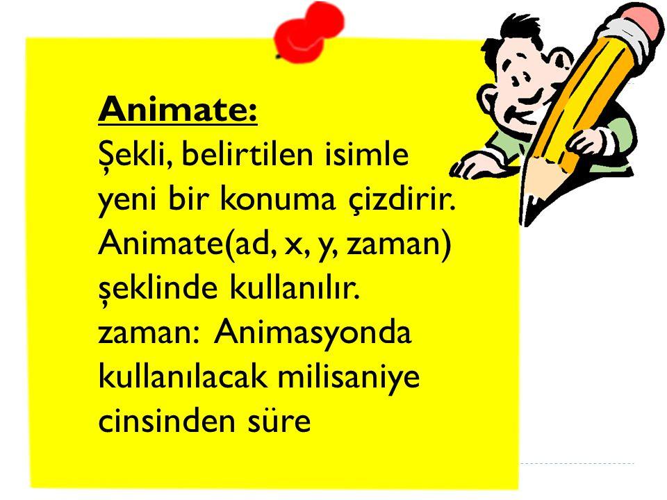 Animate: Şekli, belirtilen isimle yeni bir konuma çizdirir