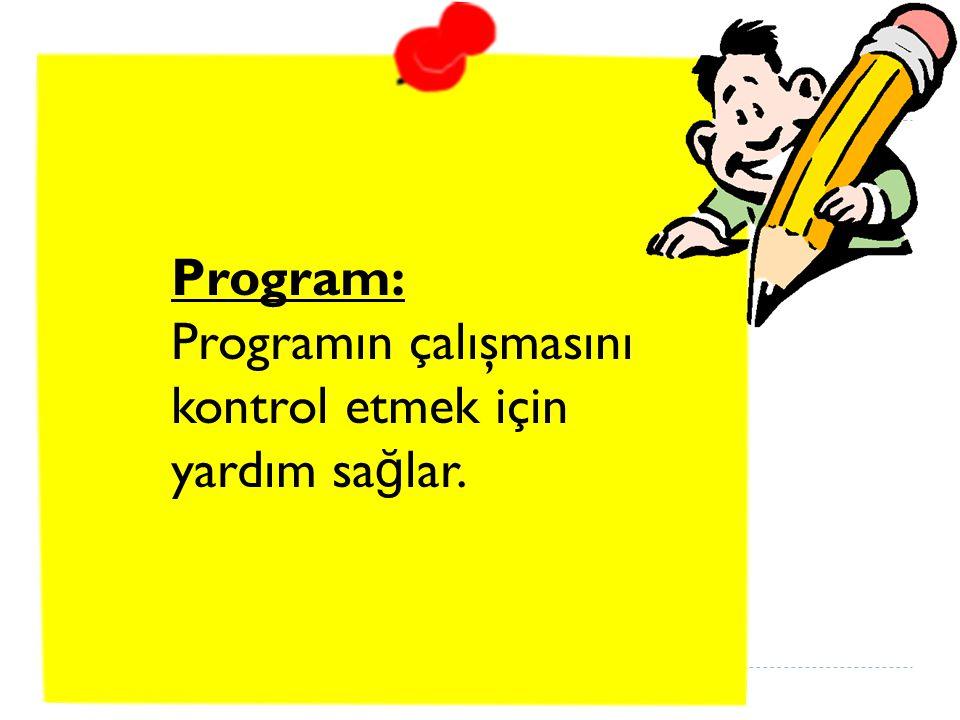 Program: Programın çalışmasını kontrol etmek için yardım sağlar.
