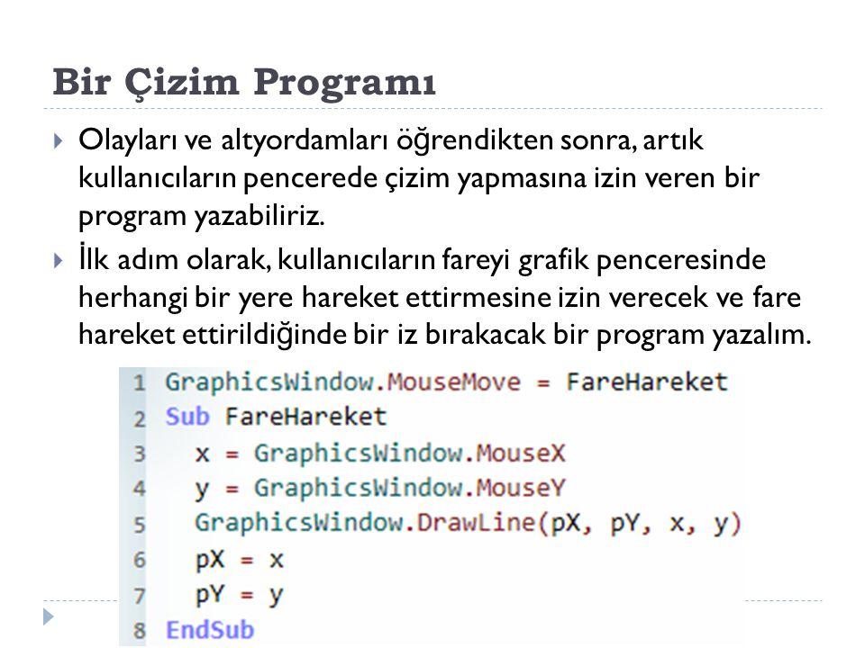 Bir Çizim Programı Olayları ve altyordamları öğrendikten sonra, artık kullanıcıların pencerede çizim yapmasına izin veren bir program yazabiliriz.