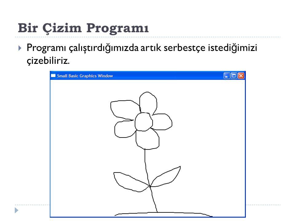 Bir Çizim Programı Programı çalıştırdığımızda artık serbestçe istediğimizi çizebiliriz.