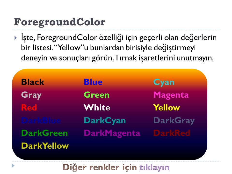 Diğer renkler için tıklayın