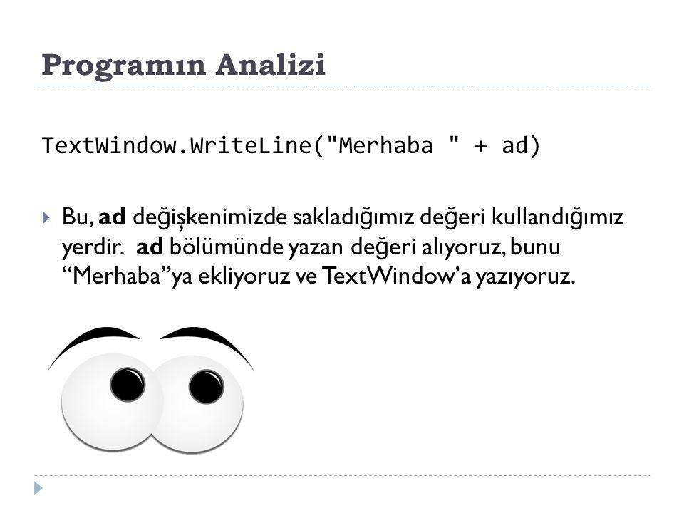 Programın Analizi TextWindow.WriteLine( Merhaba + ad)