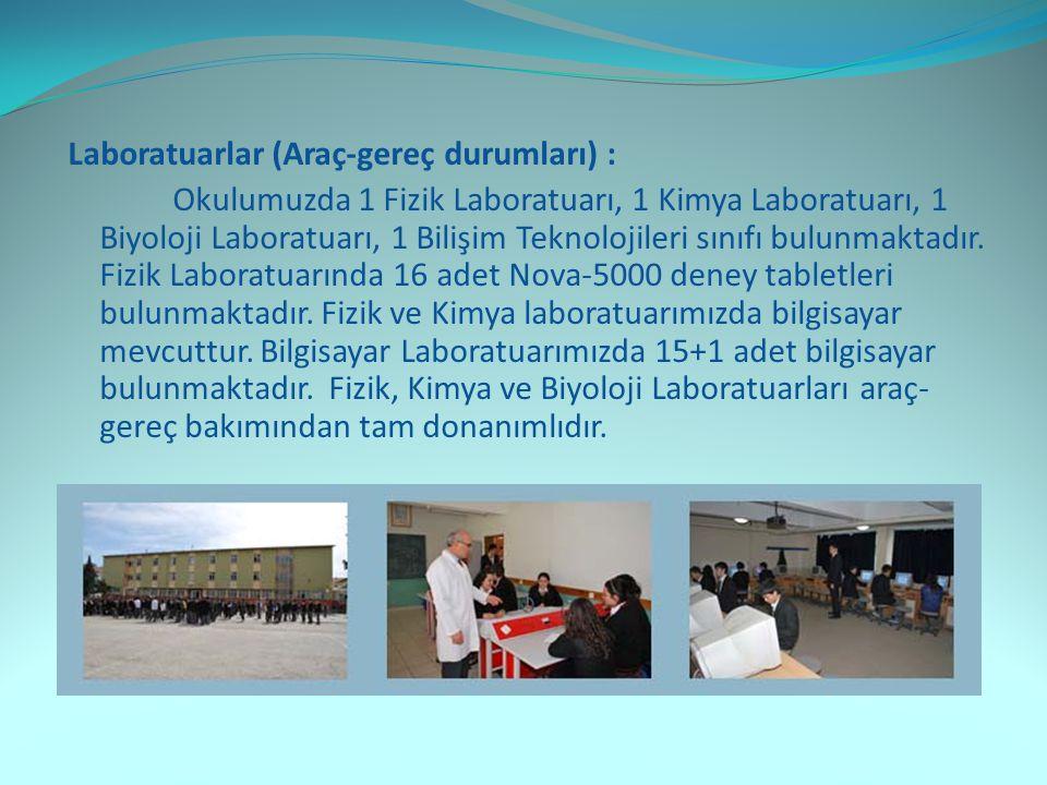 Laboratuarlar (Araç-gereç durumları) :