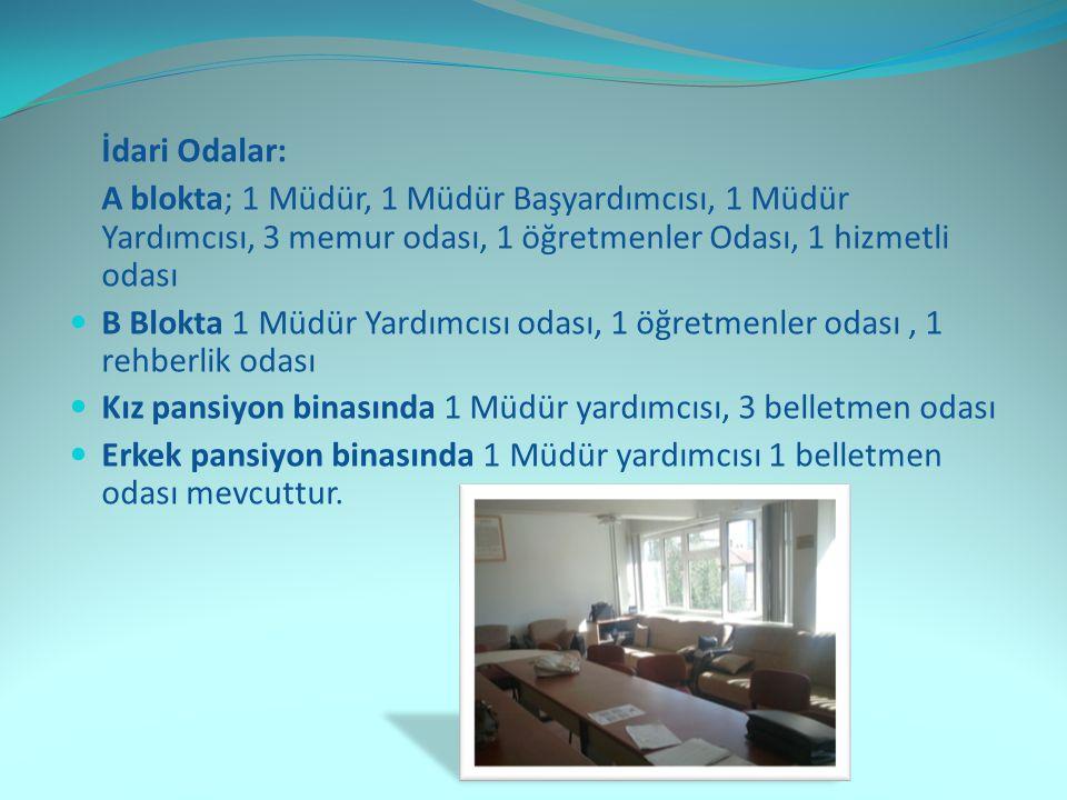İdari Odalar: A blokta; 1 Müdür, 1 Müdür Başyardımcısı, 1 Müdür Yardımcısı, 3 memur odası, 1 öğretmenler Odası, 1 hizmetli odası.