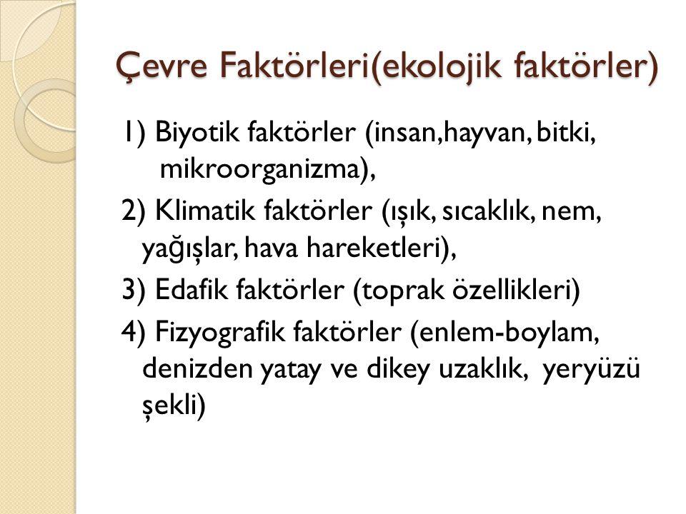 Çevre Faktörleri(ekolojik faktörler)