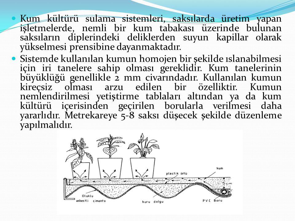 Kum kültürü sulama sistemleri, saksılarda üretim yapan işletmelerde, nemli bir kum tabakası üzerinde bulunan saksıların diplerindeki deliklerden suyun kapillar olarak yükselmesi prensibine dayanmaktadır.