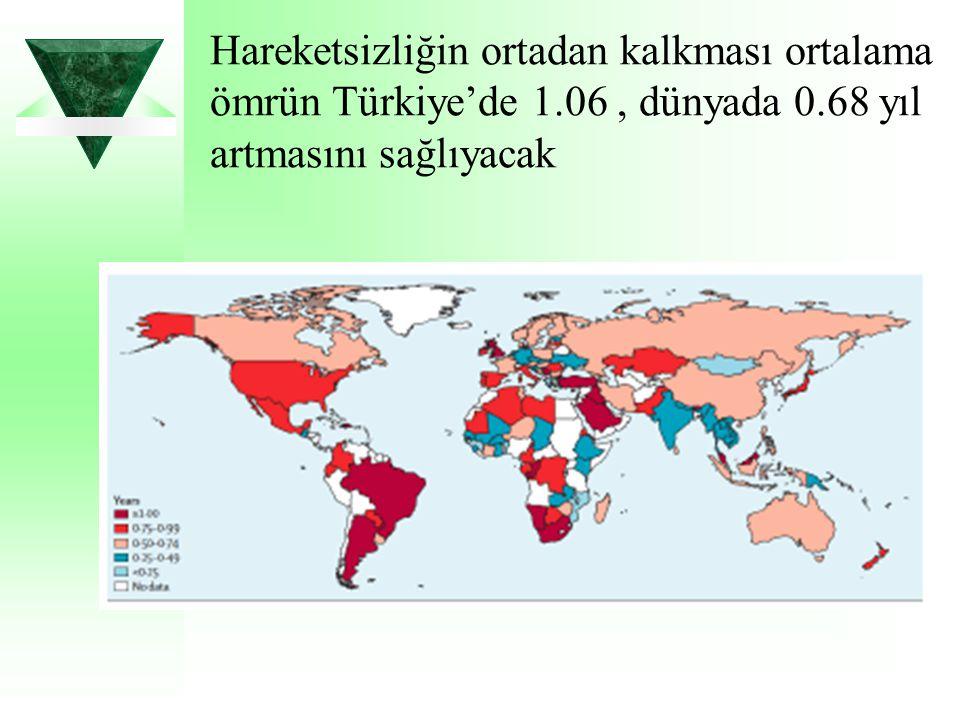 Hareketsizliğin ortadan kalkması ortalama ömrün Türkiye'de 1