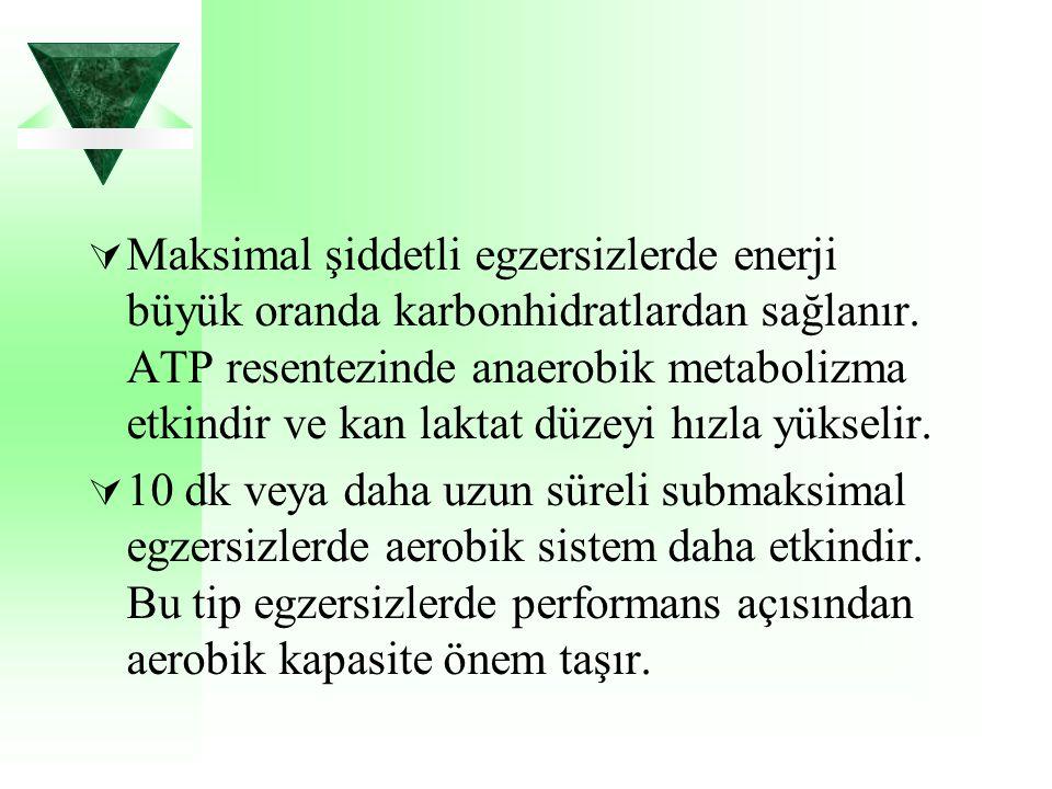 Maksimal şiddetli egzersizlerde enerji büyük oranda karbonhidratlardan sağlanır. ATP resentezinde anaerobik metabolizma etkindir ve kan laktat düzeyi hızla yükselir.