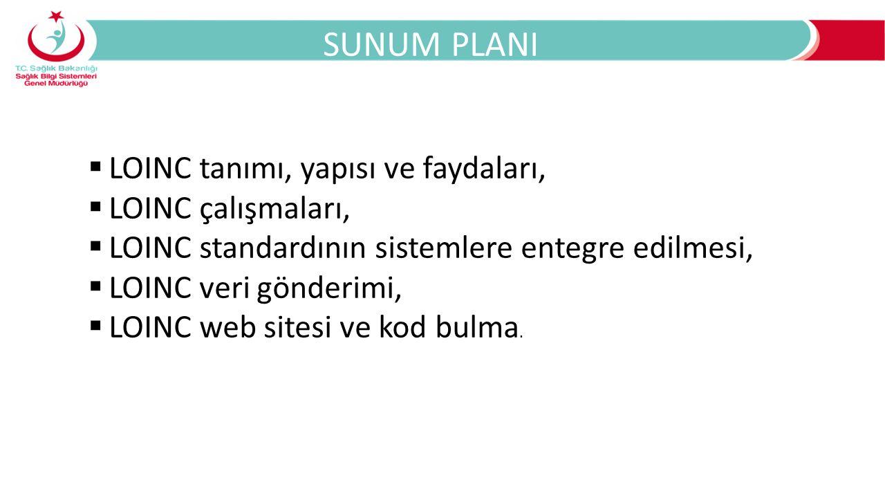 SUNUM PLANI LOINC tanımı, yapısı ve faydaları, LOINC çalışmaları,