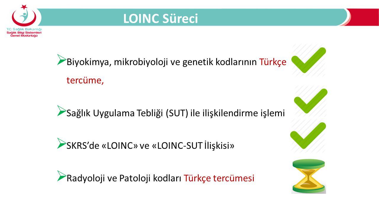 LOINC Süreci Biyokimya, mikrobiyoloji ve genetik kodlarının Türkçe tercüme, Sağlık Uygulama Tebliği (SUT) ile ilişkilendirme işlemi.