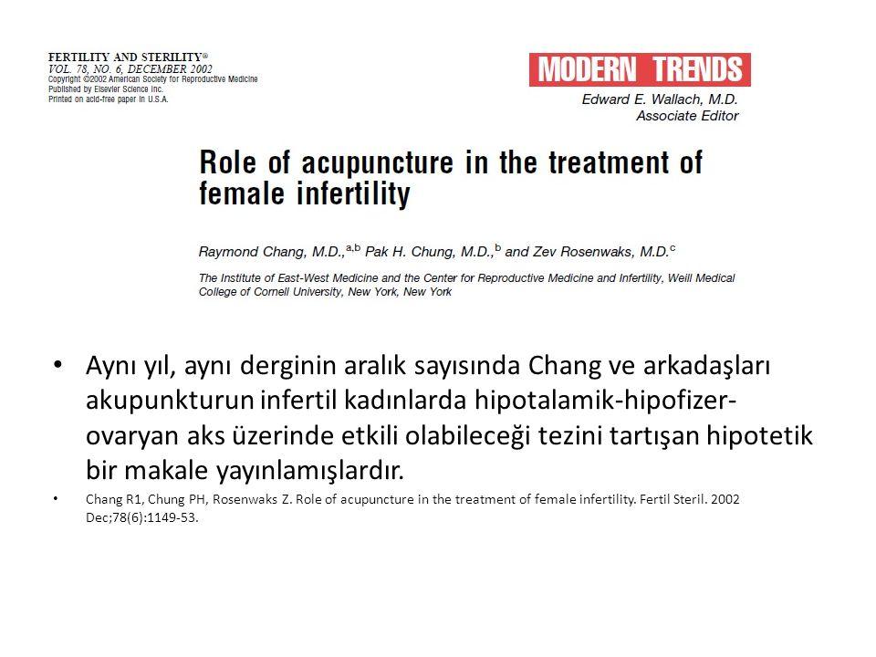 Aynı yıl, aynı derginin aralık sayısında Chang ve arkadaşları akupunkturun infertil kadınlarda hipotalamik-hipofizer-ovaryan aks üzerinde etkili olabileceği tezini tartışan hipotetik bir makale yayınlamışlardır.