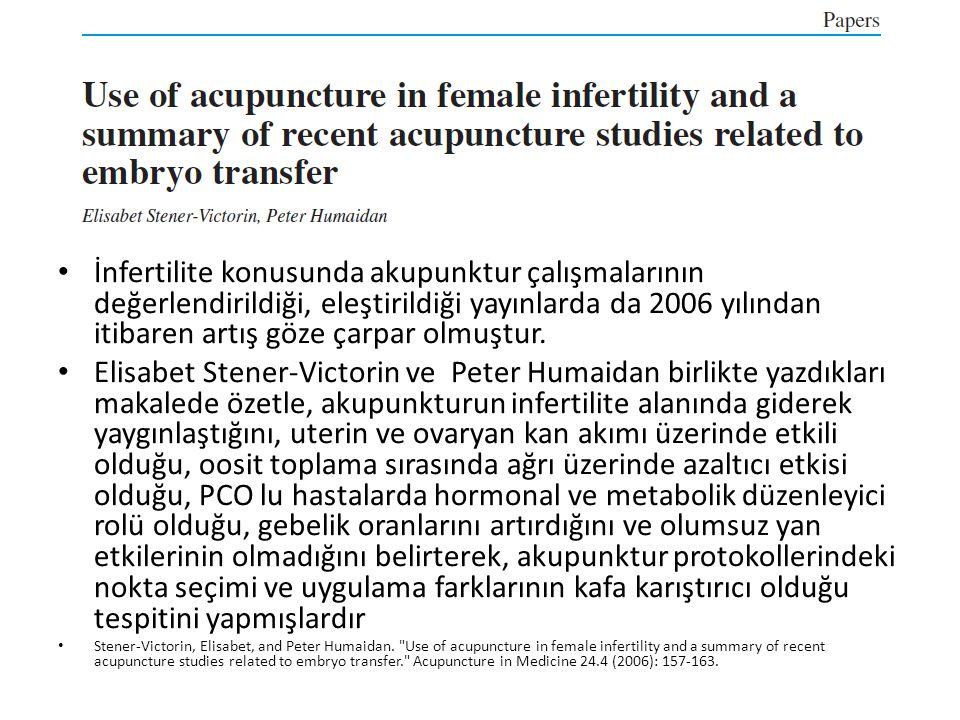İnfertilite konusunda akupunktur çalışmalarının değerlendirildiği, eleştirildiği yayınlarda da 2006 yılından itibaren artış göze çarpar olmuştur.