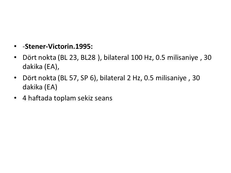 -Stener-Victorin.1995: Dört nokta (BL 23, BL28 ), bilateral 100 Hz, 0.5 milisaniye , 30 dakika (EA),