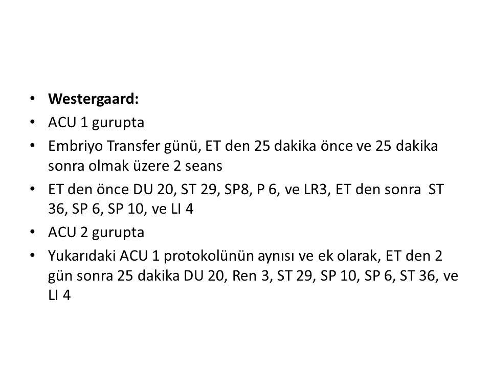 Westergaard: ACU 1 gurupta. Embriyo Transfer günü, ET den 25 dakika önce ve 25 dakika sonra olmak üzere 2 seans.