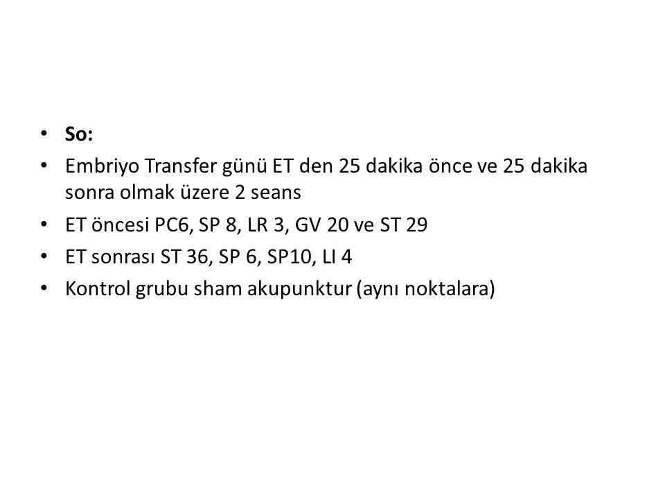So: Embriyo Transfer günü ET den 25 dakika önce ve 25 dakika sonra olmak üzere 2 seans. ET öncesi PC6, SP 8, LR 3, GV 20 ve ST 29.